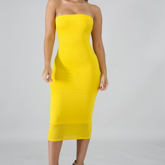 Yellow Tube Strapless Midi Dress Boutique